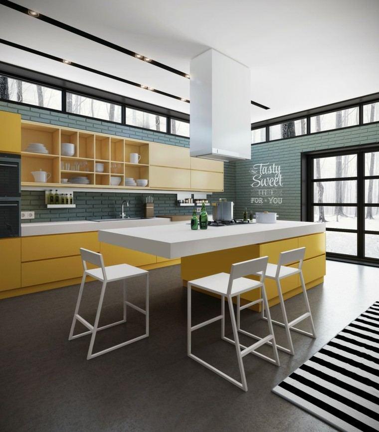 cocinas de diseño moderno losas pintadas azul ideas