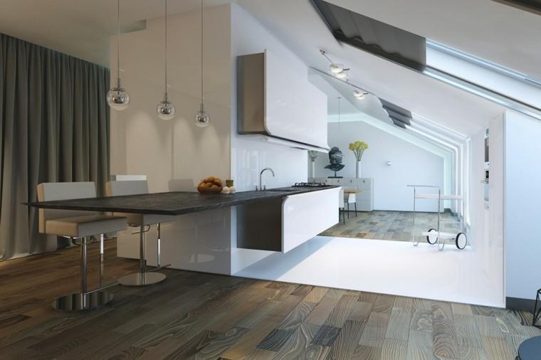 cocinas de diseño moderno suelo madera natural ideas