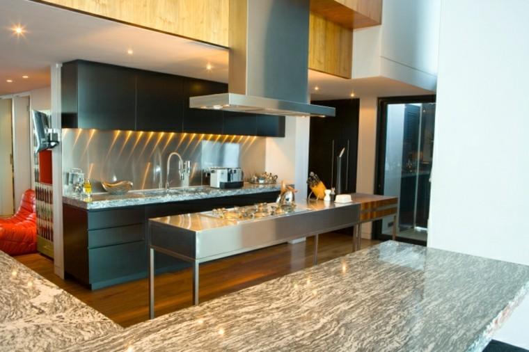 cocinas modernas con isla acero inoxidable ideas