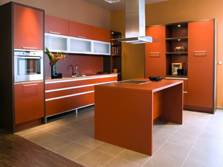 Affordable Cocinas Modernas Con Isla Color Naranja Ideas With Muebles De Cocinas  Modernos