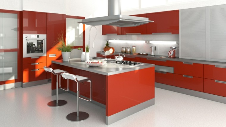 cocinas modernas con isla color rojo ideas