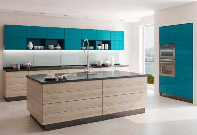 cocinas modernas con isla combinacion azul beige ideas with cocinas modernas pequeas y baratas