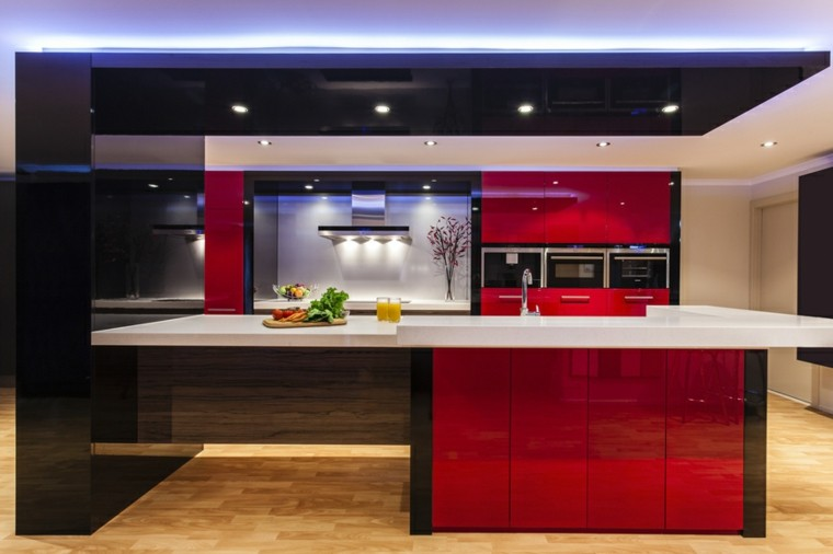 cocinas modernas con isla combinacion rojo negro ideas