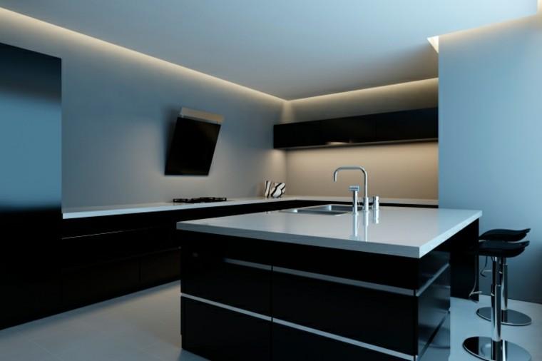 cocinas modernas con isla negra encimera blanca ideas