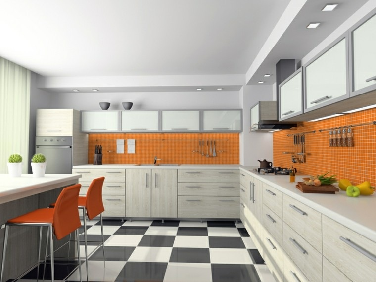 cocinas modernas con isla pared naranja muebles grises ideas