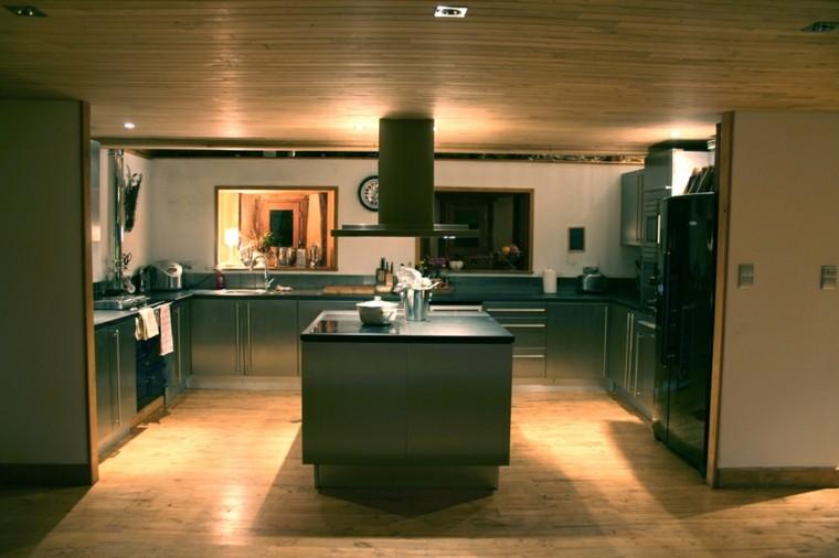 cocinas modernas con isla suelo-techo madera ideas