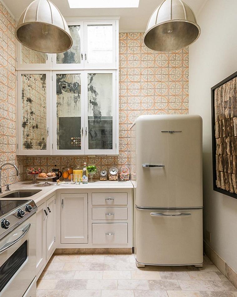 cocinas pequeñas modernas estilo vintage losas preciosas ideas