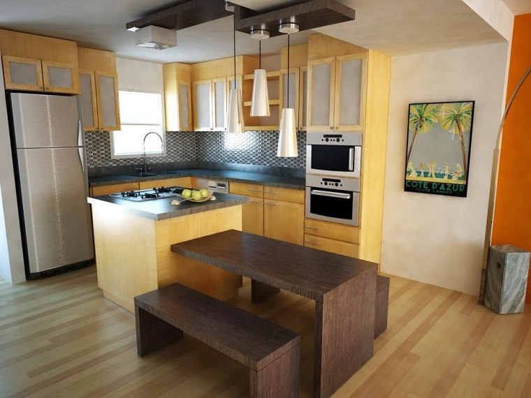cocinas pequeñas modernas isla pequena mesa bancos ideas