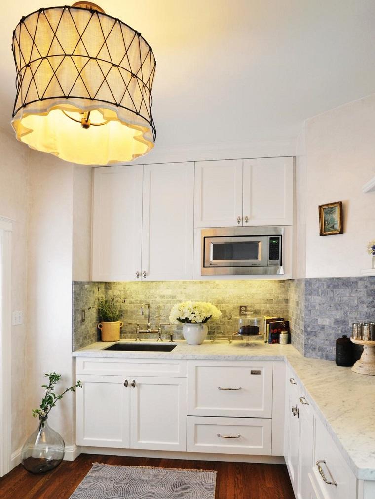 cocinas pequeas modernas losas grises pared ideas