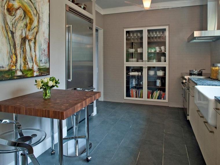 cocinas pequeñas modernas mesa alta madera armario empotrado pared ideas