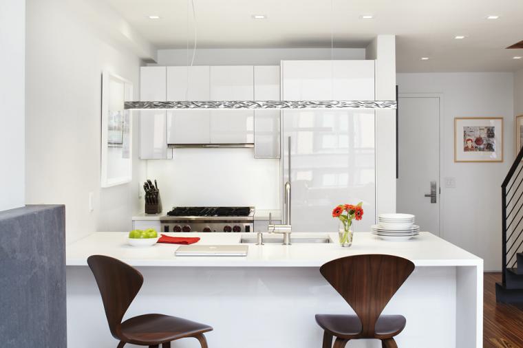 cocinas pequeñas modernas muebles paredes blancas barra ideas