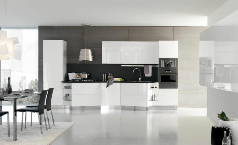 cocinas blancas mesa comedor metal
