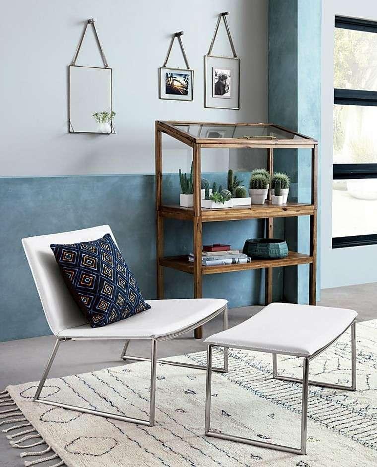 cojin azul decoracion estilo boho salon ideas