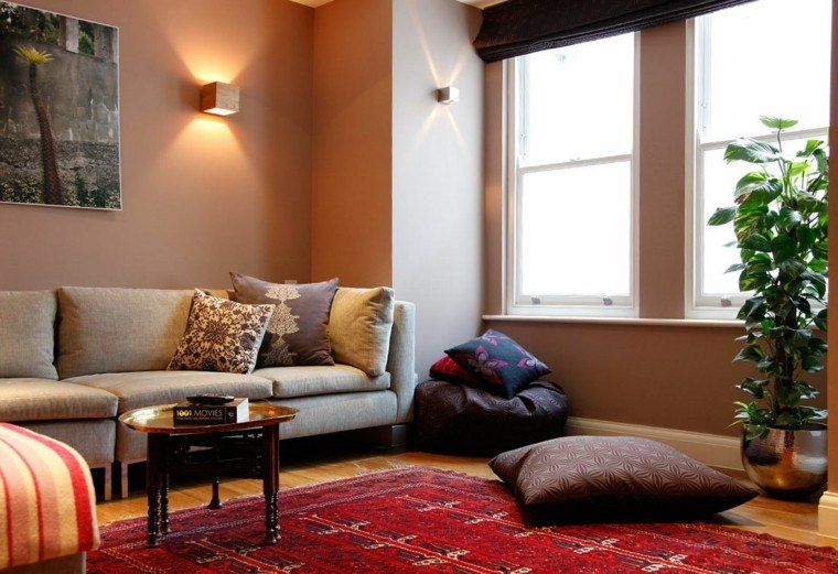 cojines cuadro rayas sofa alfombra