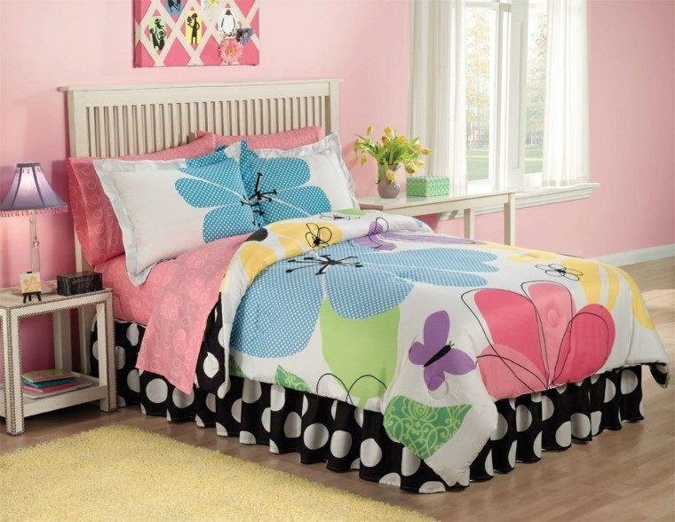 colcha cama flores colores pared rosa