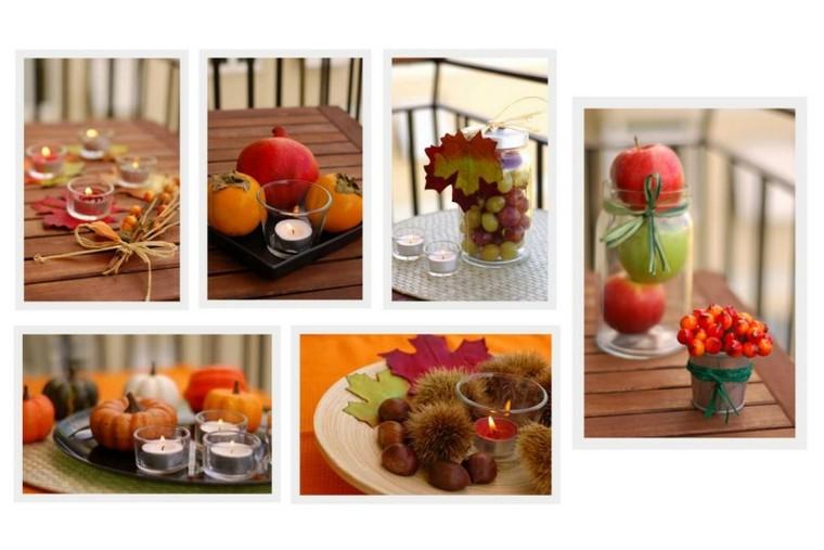 collage decoracion mesa otoño