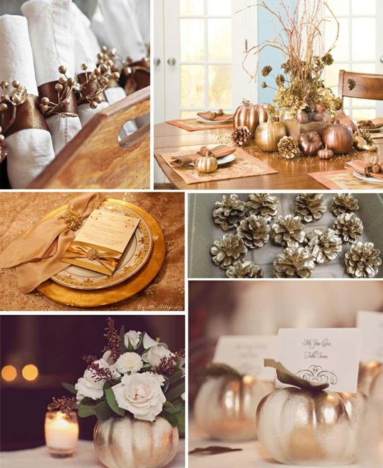 collage decoracion otoño oro