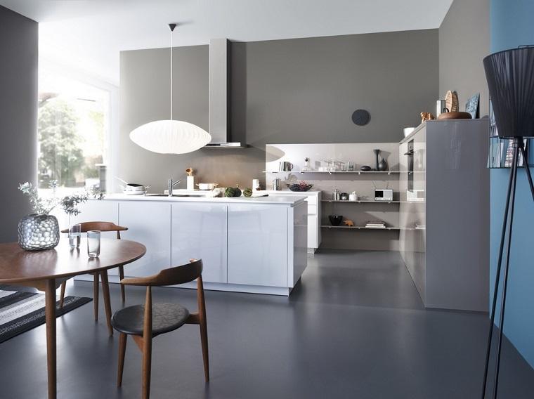 color beige oscuro paredes cocina moderna isla ideas