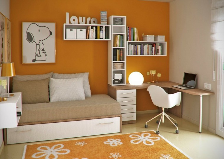 color naranja pared alfombra silla blanca ideas