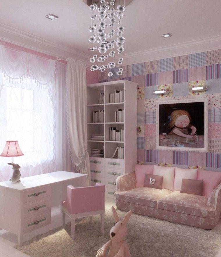 color rosa lampara preciosa habitacion nina ideas - Habitaciones Nias