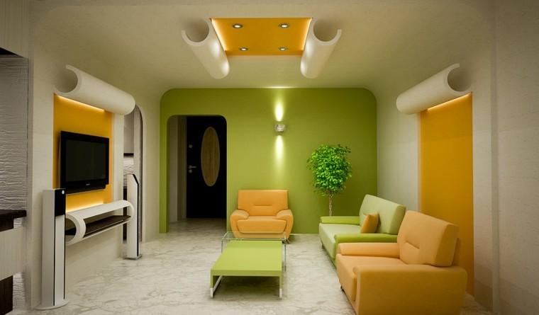 Decoración de salones pintura y papel de pared modernos -