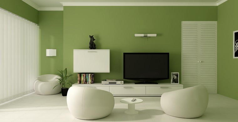 colores calidos salon moderno pared verde ideas