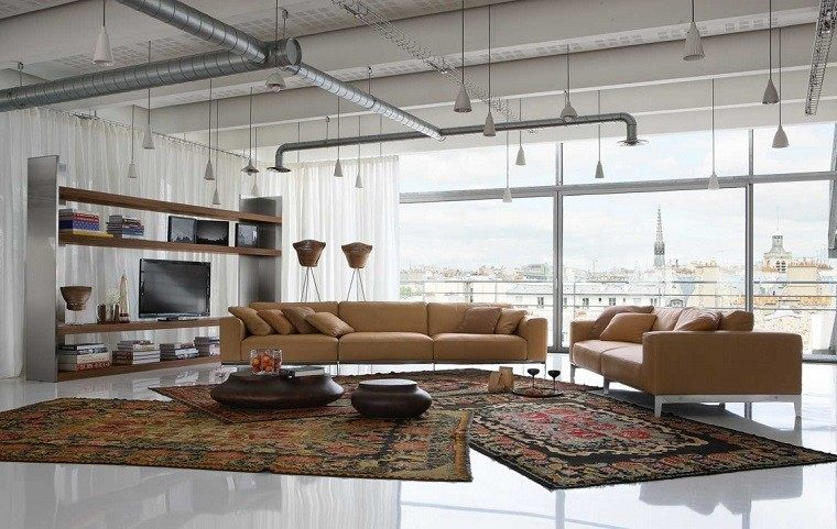 colores calidos salon moderno sofa beige grande ideas