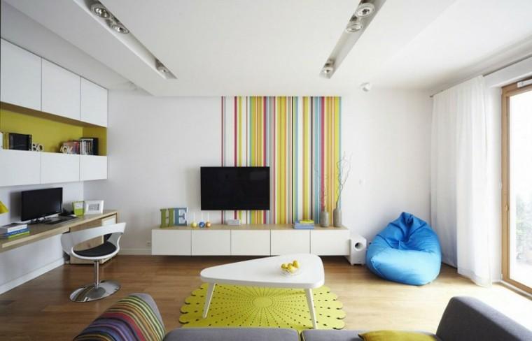 colores vibrantes pared salon moderno ideas