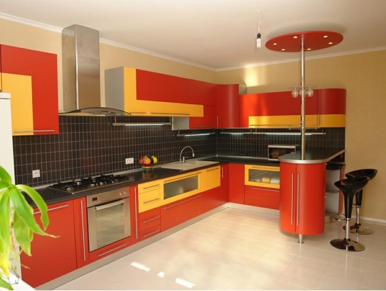colorida rojo estilo cocina contemporanea