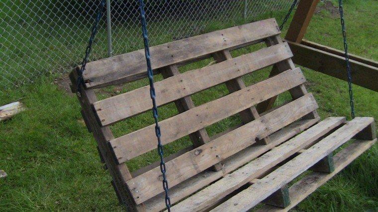 columpio madera banco jardin