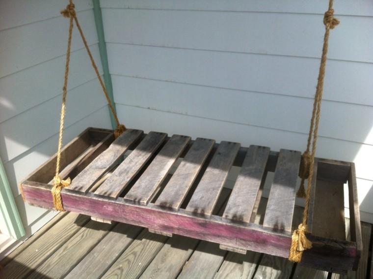 columpio terraza madera pallet cuerda
