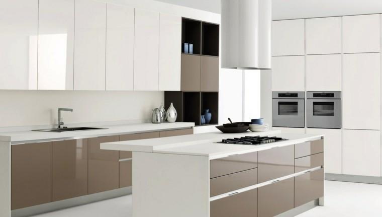 combinacion blanco beige muebles isla cocina ideas