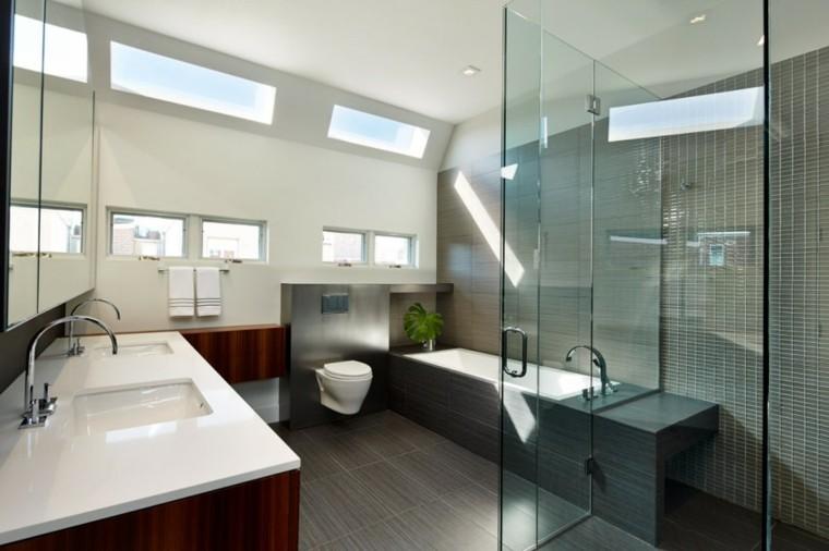 Baño Gris Con Madera:Diseño de baños en color gris 50 ideas inspiradoras -