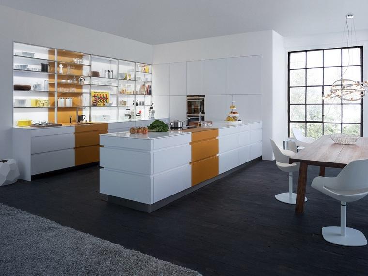 combinacion blanco naranja cocina moderna isla mesa madera ideas