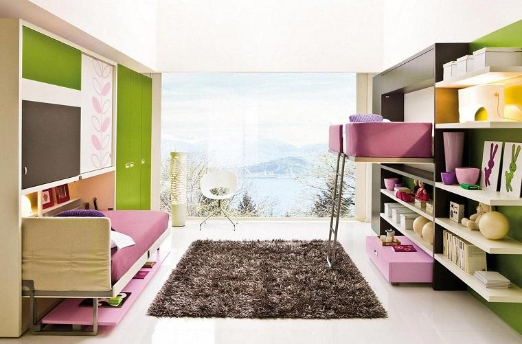 combinacion verde purpura dormitorio adolescentes ideas