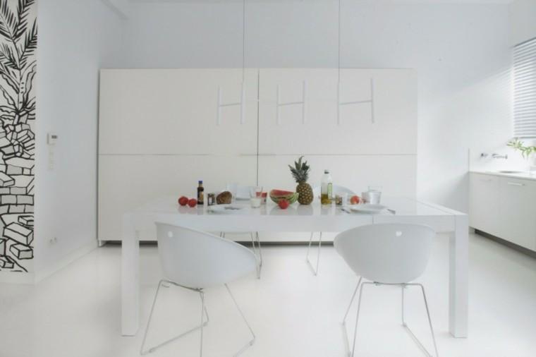 comedor blanco sillas muebles paredes ideas