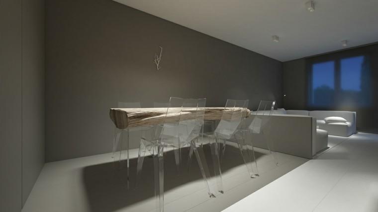 comedor minimalista mesa madera natural blanc gris ideas