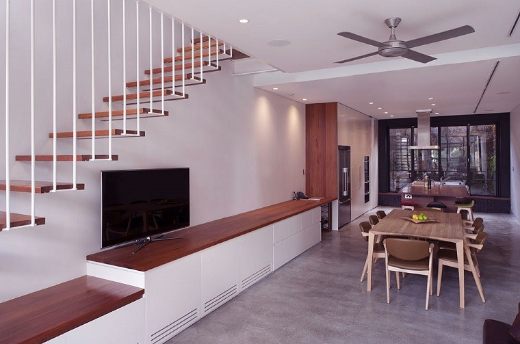 comedor moderno decorar escaleras suspendidas