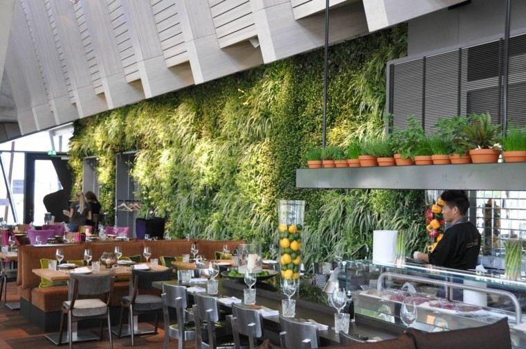 comida restaurante decoracion vidrio macetas