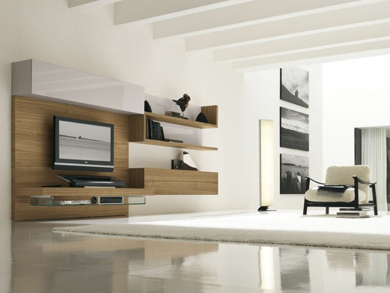 como decorar un salon minimalista iluminado madera