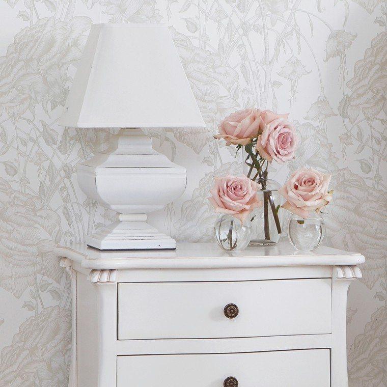 comoda lampara color blanco