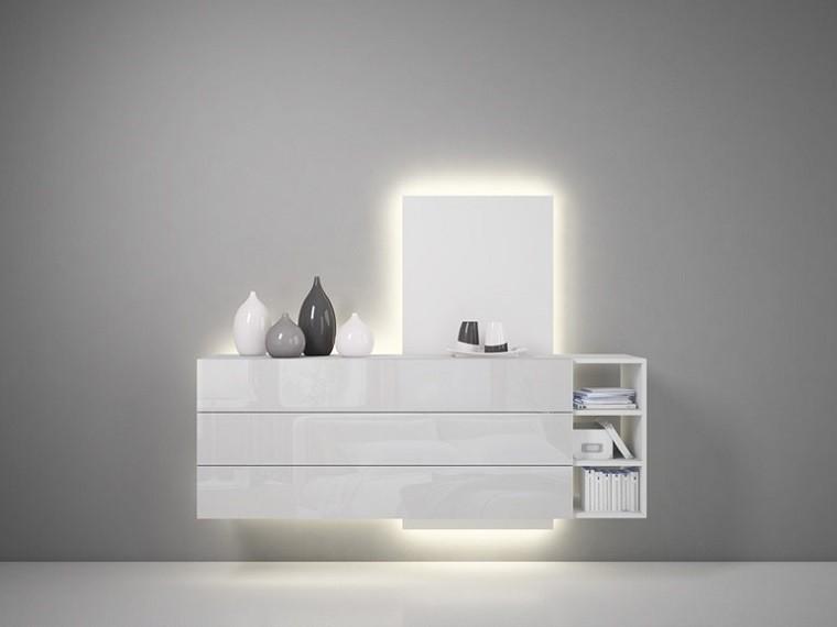 comoda moderna blanca luces led