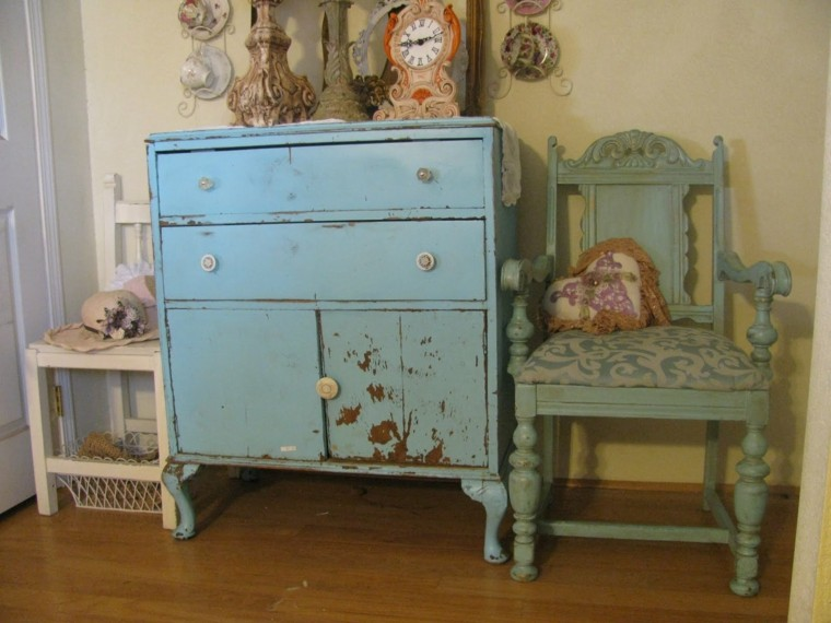 comoda color azul shabby chic