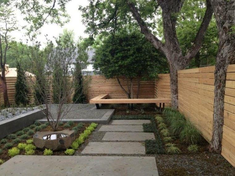 confort estanque madera plantas bancos