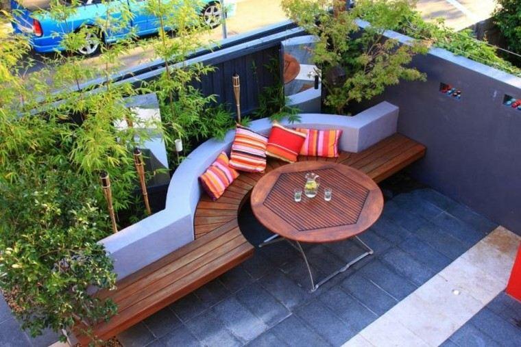 confort patio cojines suelo madera