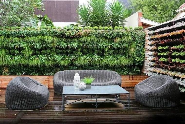 confort patio decoracion zen muro verde