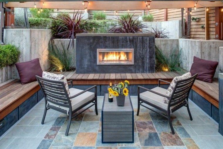 confort patio listones banca flores