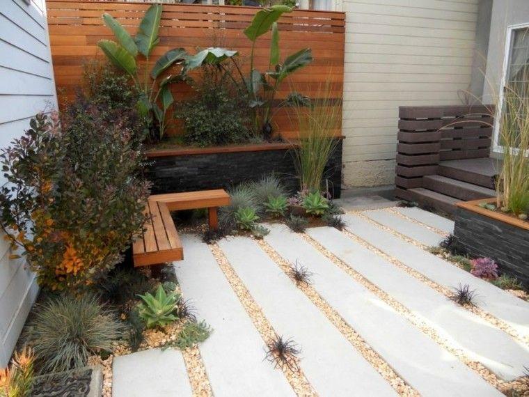 confort patio plantas grava banco
