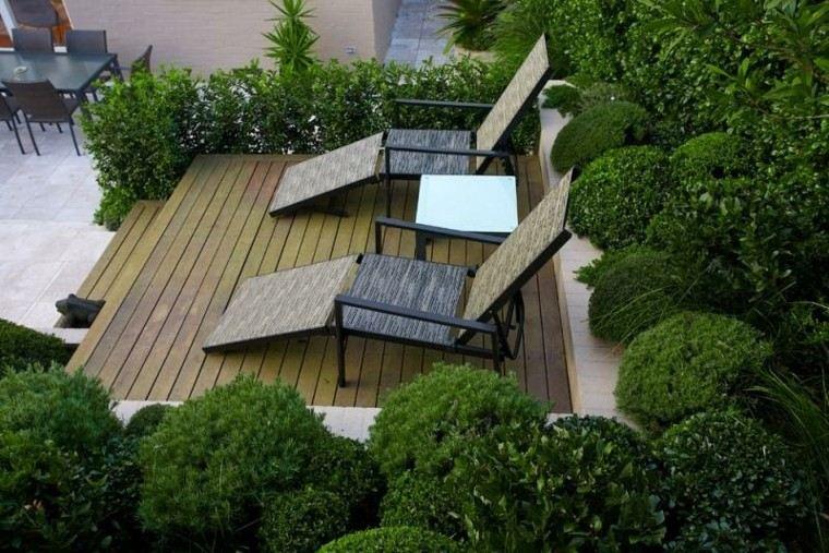 confort tumbonas plataforma mesas piscina