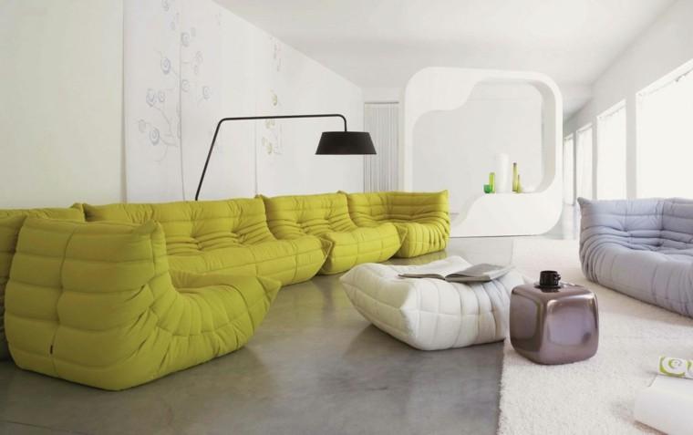 conjunto sofas pufs acolchados modernos